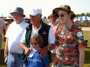 Chuck Yeager with the Make-A-Wish Kids