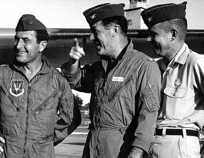 Chuck Yeager, Pete Everest and Bud Anderson