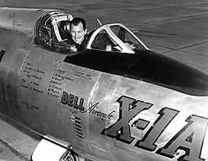 Chuck Yeager in the cockpit of X-1A
