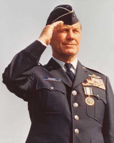 General Chuck Yeager Saluting