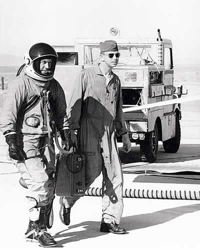 Chuck Yeager approaches NF-104 Starfighter