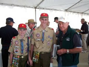 Chuck Yeager with Eagle Scouts