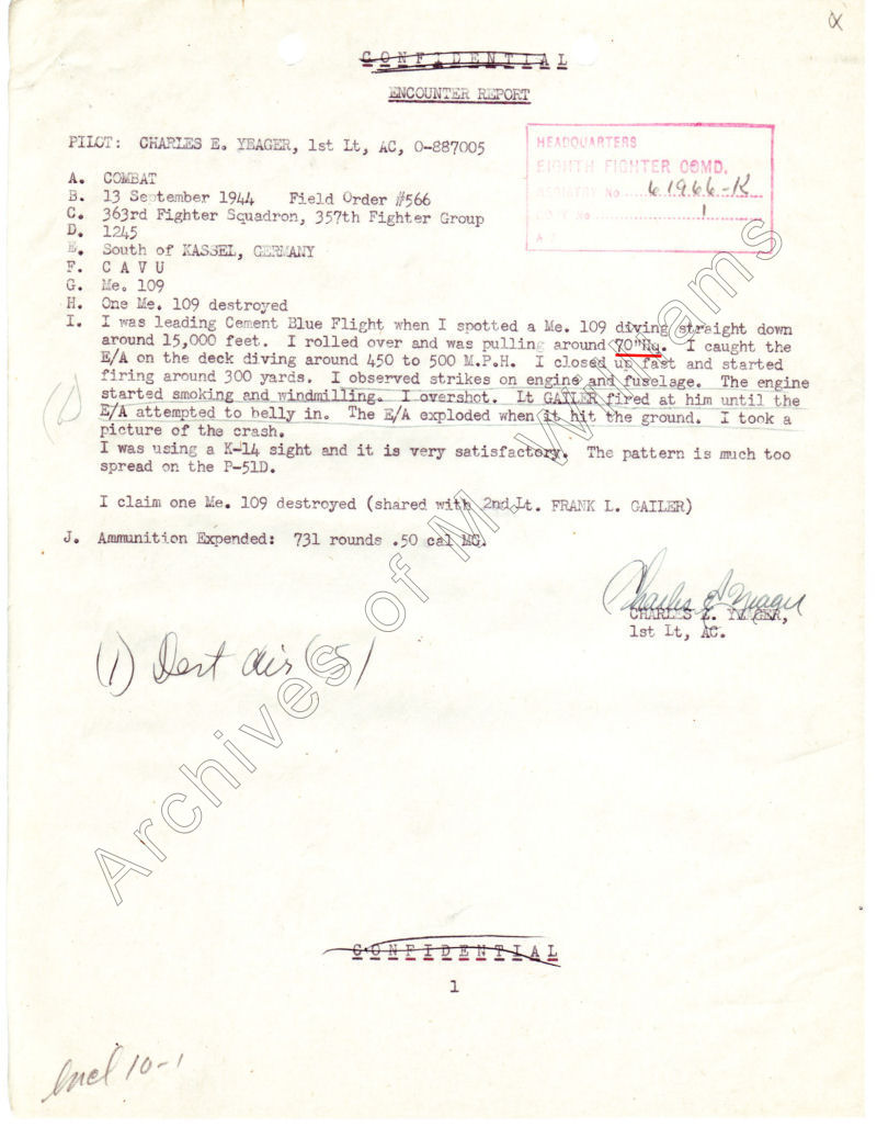 Chuck Yeager's second combat Encounter Report of a shared ME 109 destruction