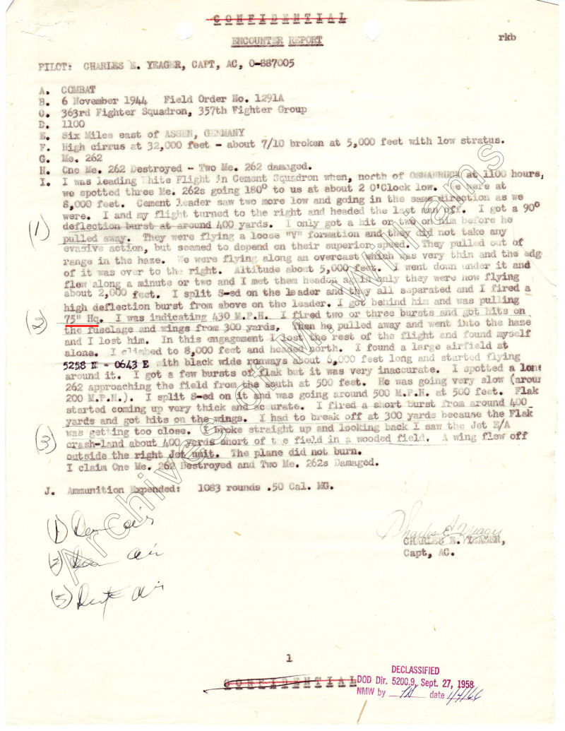 Chuck Yeager's fifth combat Encounter Report with ME 262's